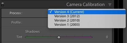 Adobe Lightroom Process Version Setting