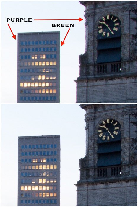 Diptych comparing photos of a clocktower before and after removing chromatic aberration