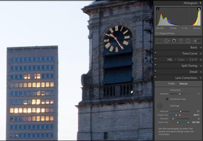 Screenshot of Manually Correcting CA in a photo of a clocktower