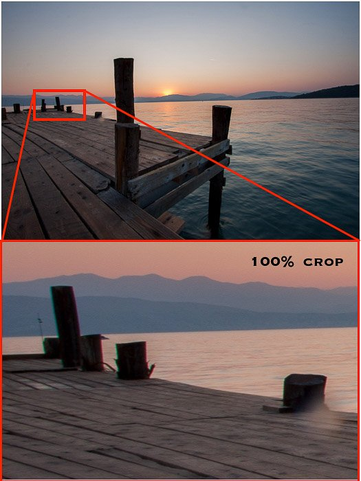 Diptych showing incidence of chromatic aberration in a sunset seascape