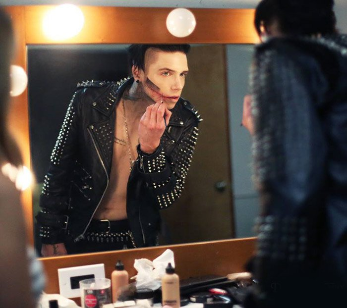 Performer preparing his makeup for a show. Backstage photography.
