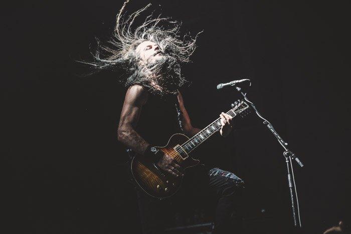 Epica guitarist caught in high contrast, high speed light.