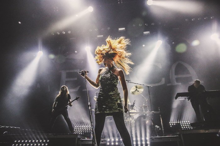 Simone Simons, the lead singer for the metal band Epica. High-speed image capturing wild hair movement,.