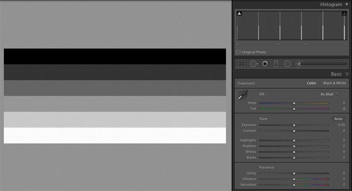 Example of Contrast Bars in Adobe Lightroom