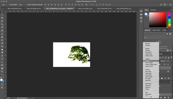A screenshot showing how to use merge tool to create a double-exposure effect