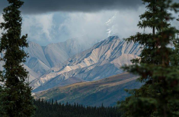被树木包围的山的风景摄影