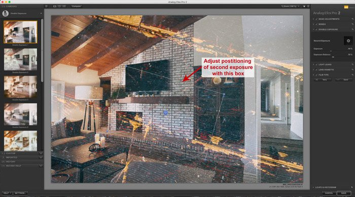 A screenshot of using the Google Nik Collection in Lightroom - Analog Efex - Double exposure effect in Adobe Lightroom