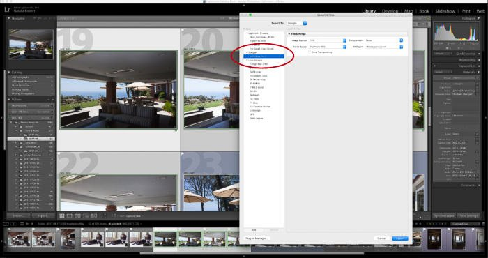 A screenshot of using the Google Nik Collection in Lightroom - HDR Efex Pro export menu, compiling several photos into one HDR image