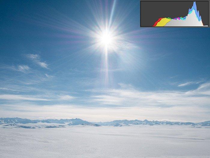 Alaskan landscape demonstrating the right-skewed histogram for bright exposures