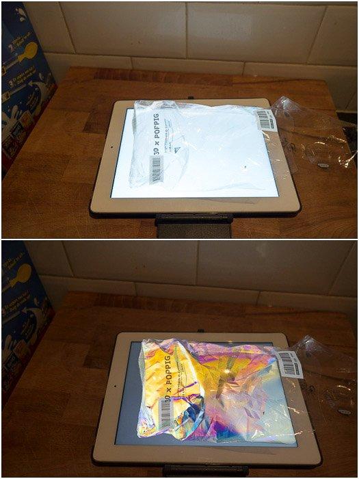 iPad tablet used to provide polarized light