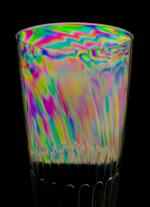 Photoelasticity effect on clear plastic cup