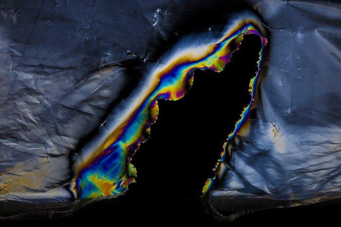 Photoelasticity effect on torn plastic clingfilm