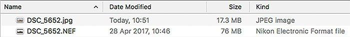 Screenshot of file size comparison - raw file format vs jpeg