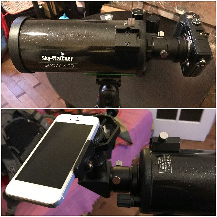 Diptych photo of a DSLR and iPhone with a telescope mount for moon photography