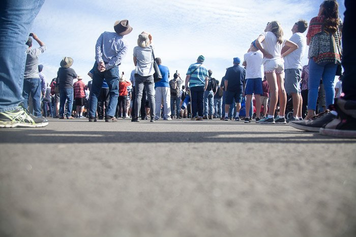 Low angle view of an airshow crowd.