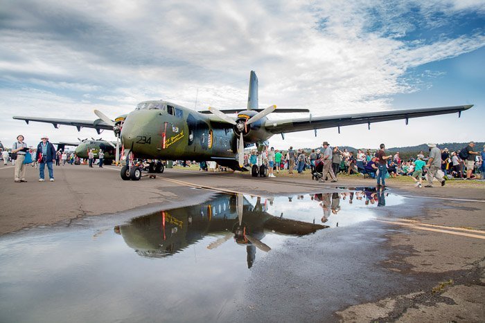 Creative use of reflection to enhance aviation photography.