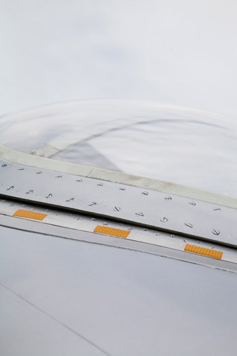 Close-up detail of wing-engine structure