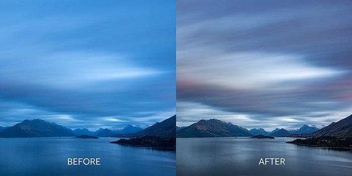 前后照片的后期处理您的景观摄影图像