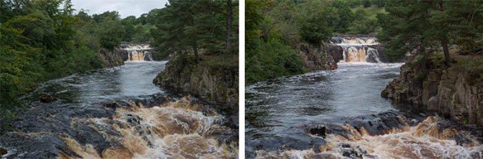 河流场景显示全帧和裁剪传感器之间的差异