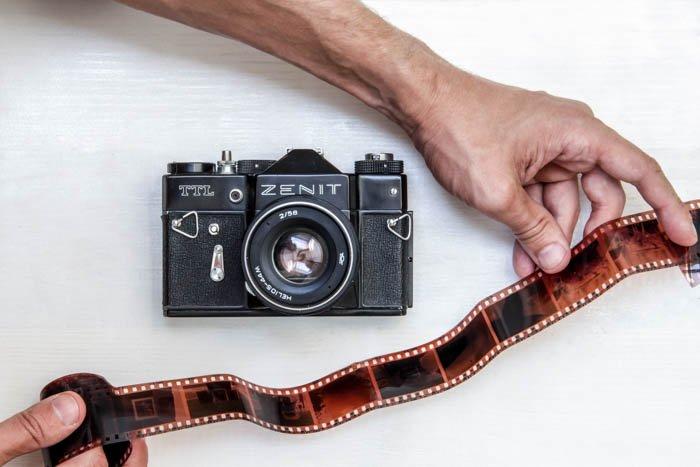 A 35mm film camera and film