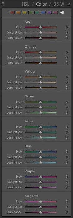 A screenshot of Lightroom HSL panel