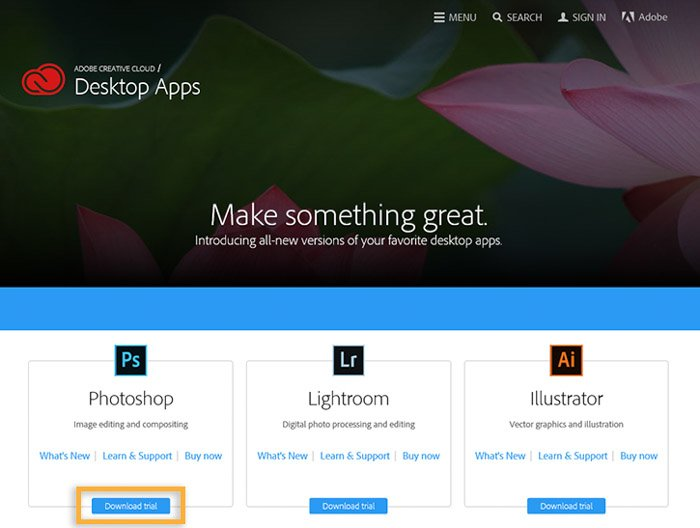 A screenshot of the Adobe purchase page