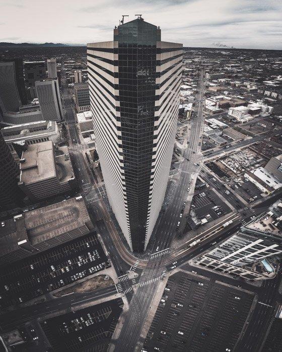 Aerial shot of a tall skyscraper