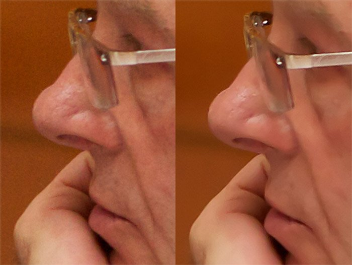 A diptych showing a before and after comparison of using noise reduction in Adobe Lightroom on a portrait photo