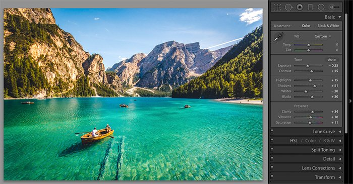 A screenshot showing how to make and save a preset within Lightroom