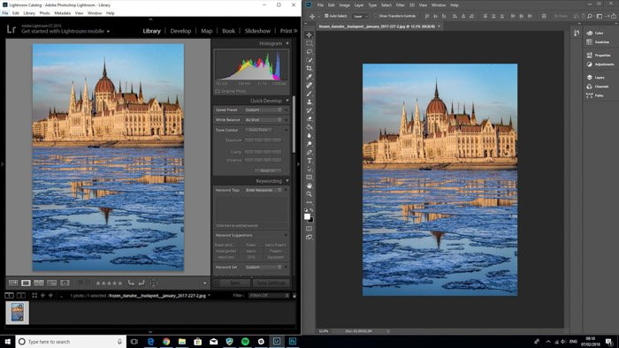 A screenshot of editing photos on both lightroom and photoshop