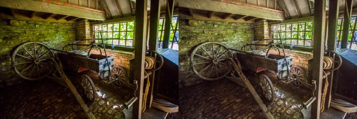 diptych photo of an interior with Left: Effect of setting contrast to maximum. Right: No added contrast but maximum Clarity enhances details and texture but can also increase visibility of noise
