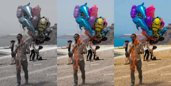 a triptych of the same portrait image with different Saturation and Vibrance settings - lightroom develop module