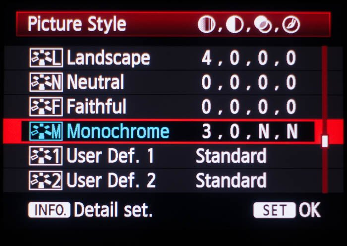 Picture style menu on a Canon camera
