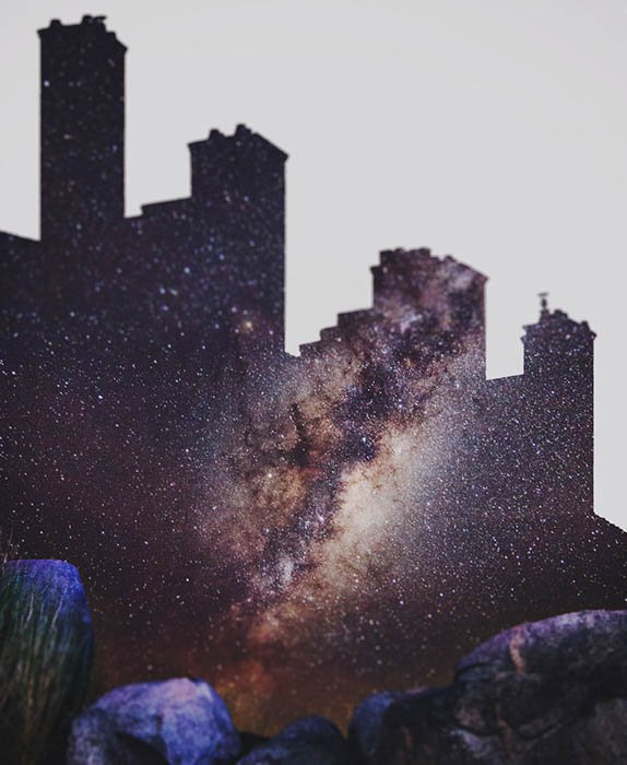 Double-exposure images of a cityscape and starry sky