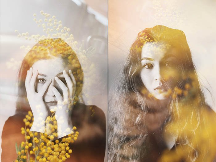 A self portrait double-exposure diptych of a female model