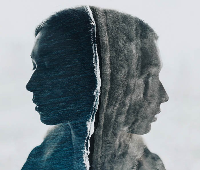 Awesome double exposure self-portrait of a female model