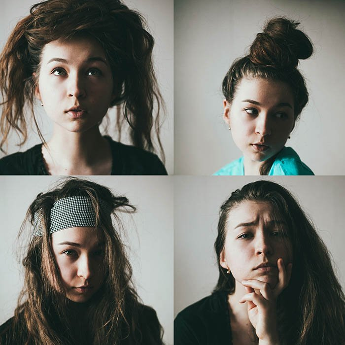 Four photo grid of a female model making silly faces showing how to have fun with self-portraiture