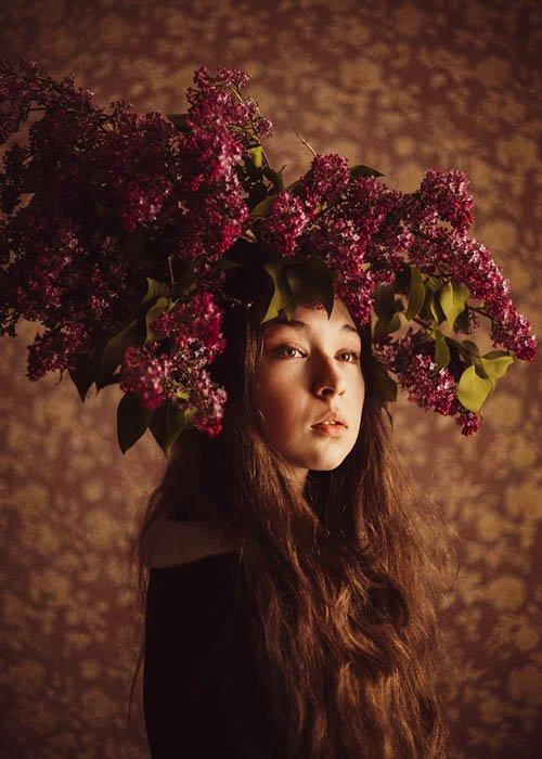 flower headdress for creative self portrait photography
