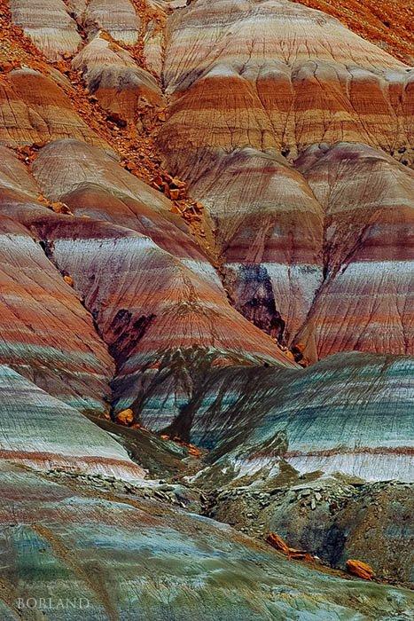 Pattern of eroding hillside near Pareah, UT