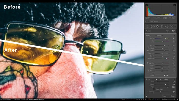 editing street photography in lightroom - accentuating details on glasses