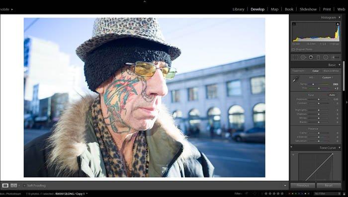 editing street photography - white balance