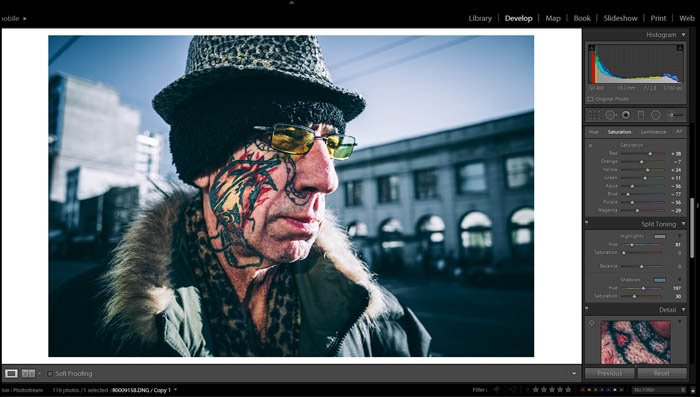 editing street photography in lightroom - split toning - picture of an old man with a colourful face tattoo and eccentric clothes