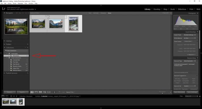 Showing new Lightroom collections