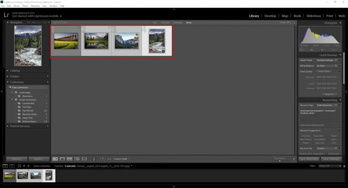 Selecting images
