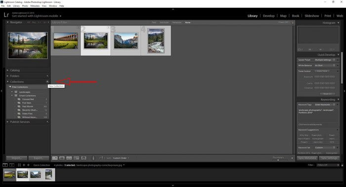 adding new Lightroom collections