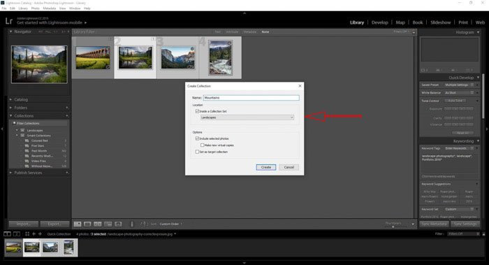 assigning new Lightroom collections