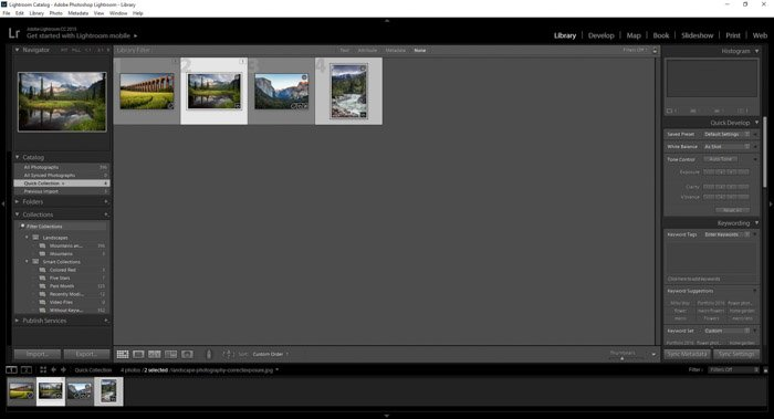 Selecting images for Lightroom collections