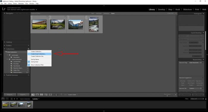 Creating new Lightroom collections