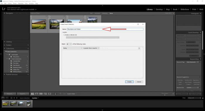 Naming new Lightroom collections