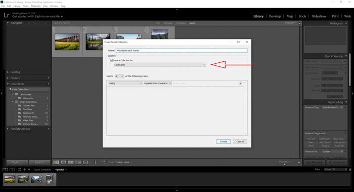 Organising new Lightroom collections